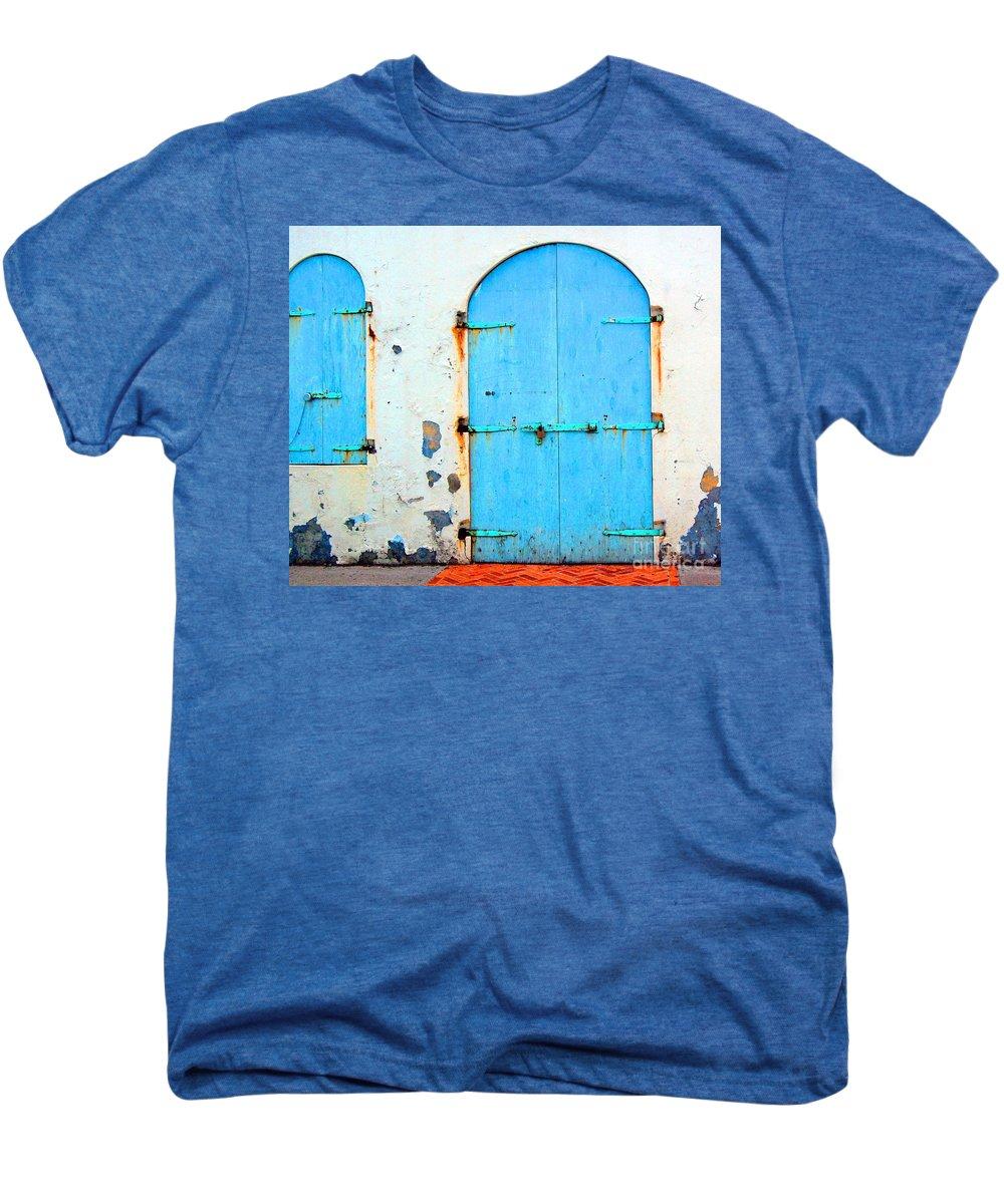 Door Men's Premium T-Shirt featuring the photograph The Blue Door Shutters by Debbi Granruth