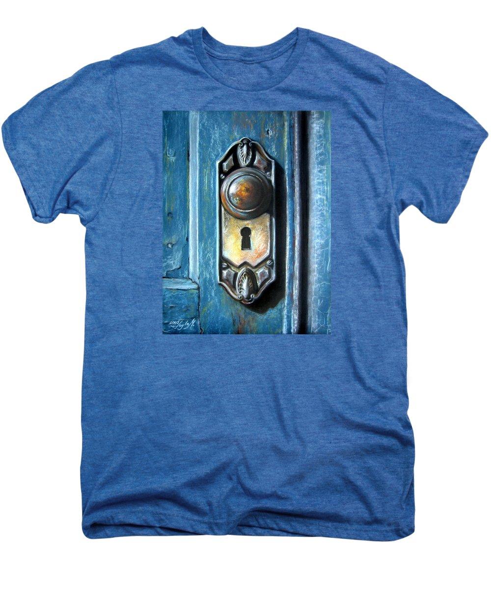 Door Knob Men's Premium T-Shirt featuring the painting The Door Knob by Leyla Munteanu