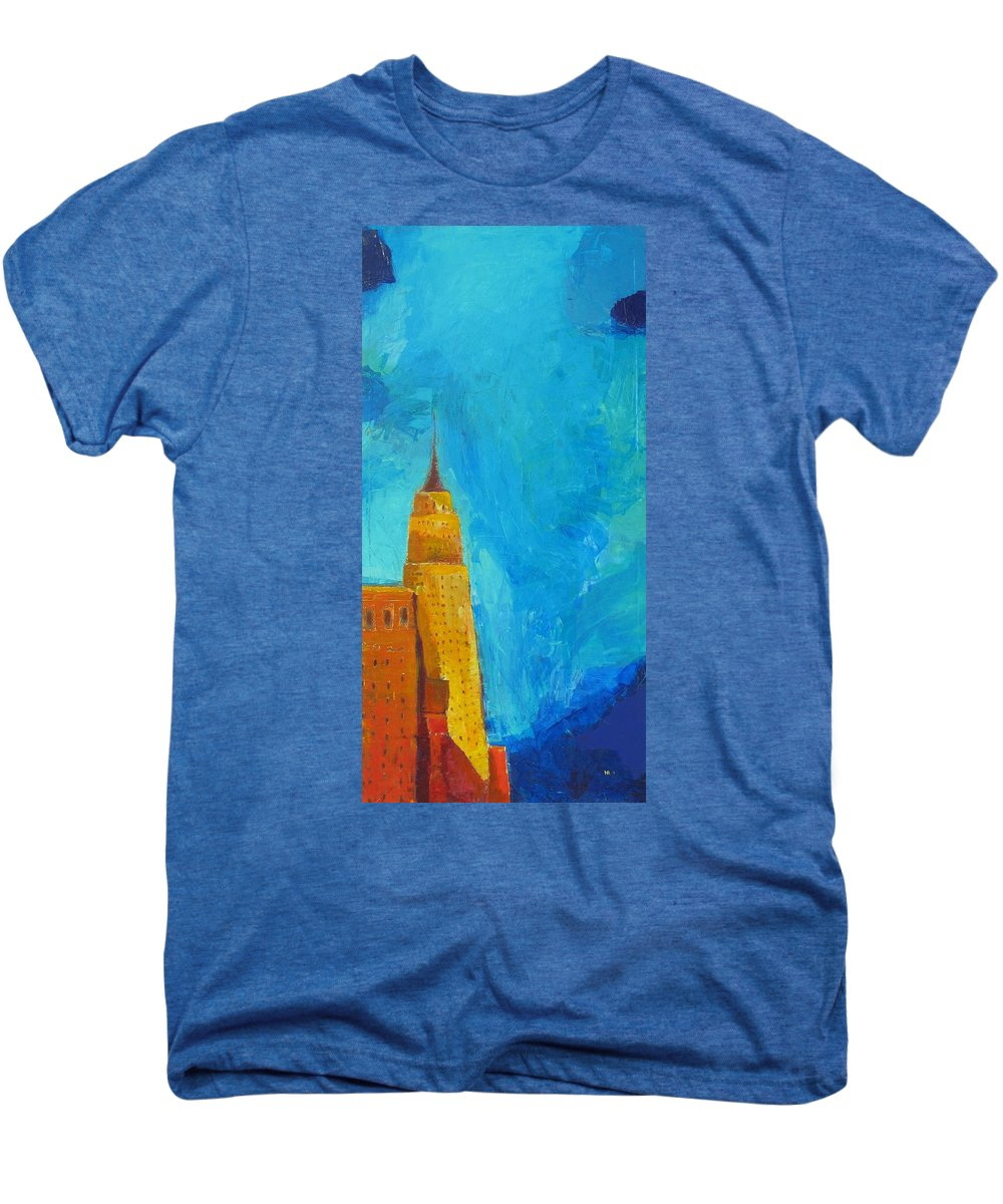 Abstract Cityscape Men's Premium T-Shirt featuring the painting The Empire State by Habib Ayat