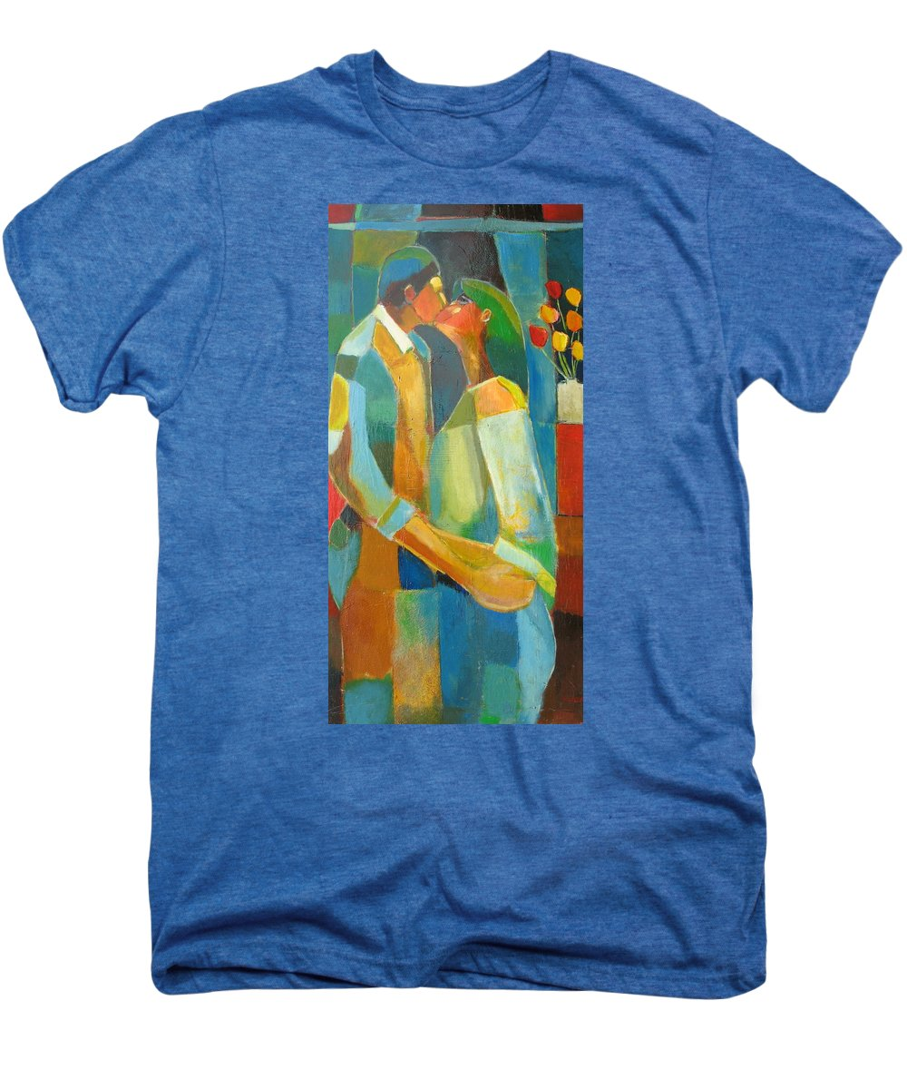 Love Abstract Men's Premium T-Shirt featuring the painting The Sweet Kiss by Habib Ayat