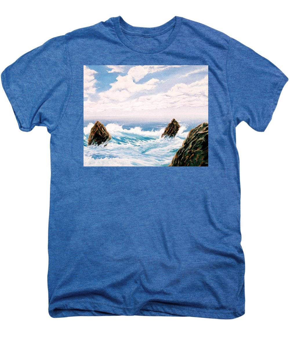 Seascape Men's Premium T-Shirt featuring the painting Three Rocks by Mark Cawood