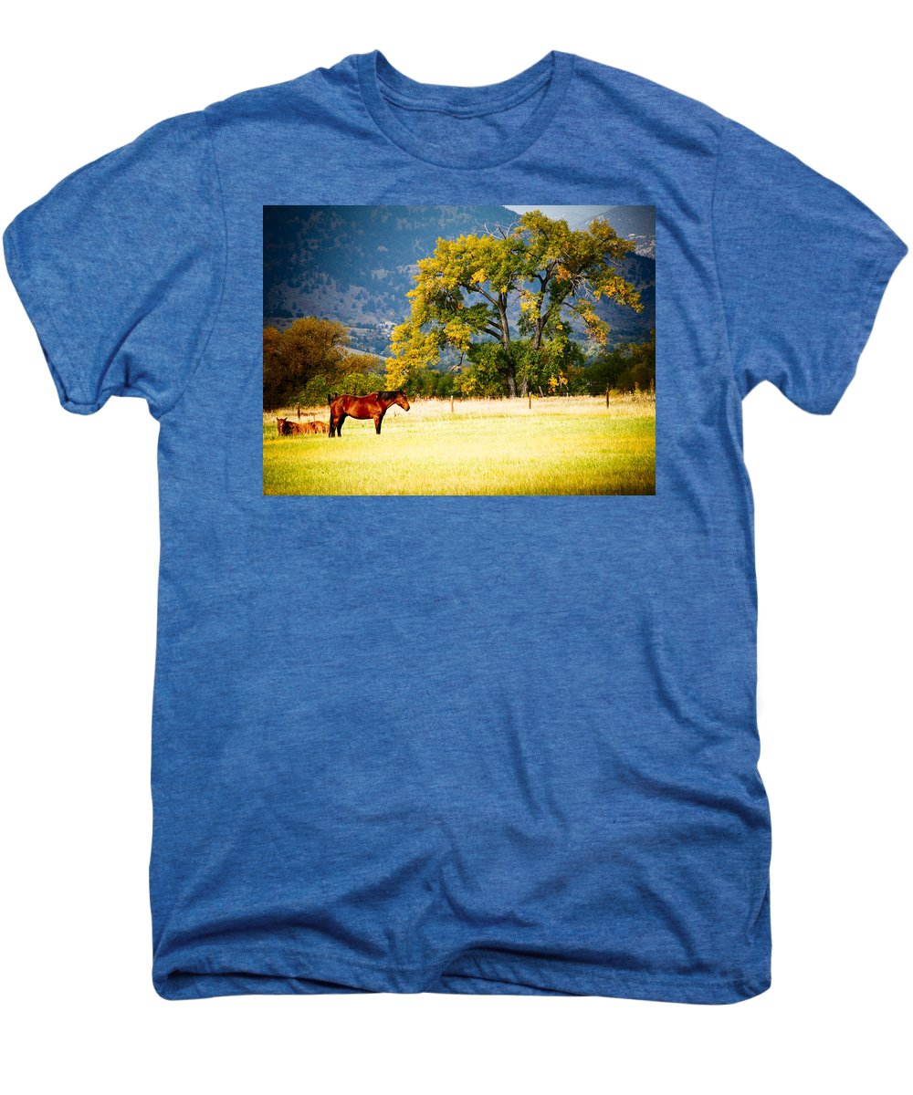 Animal Men's Premium T-Shirt featuring the photograph Two Horses by Marilyn Hunt