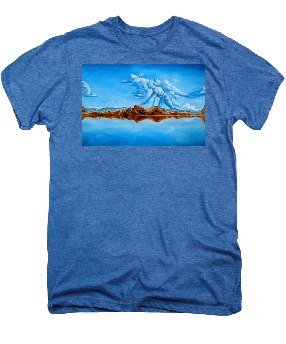 Surrealism Men's Premium T-Shirt featuring the painting Unfinished Business by Darwin Leon