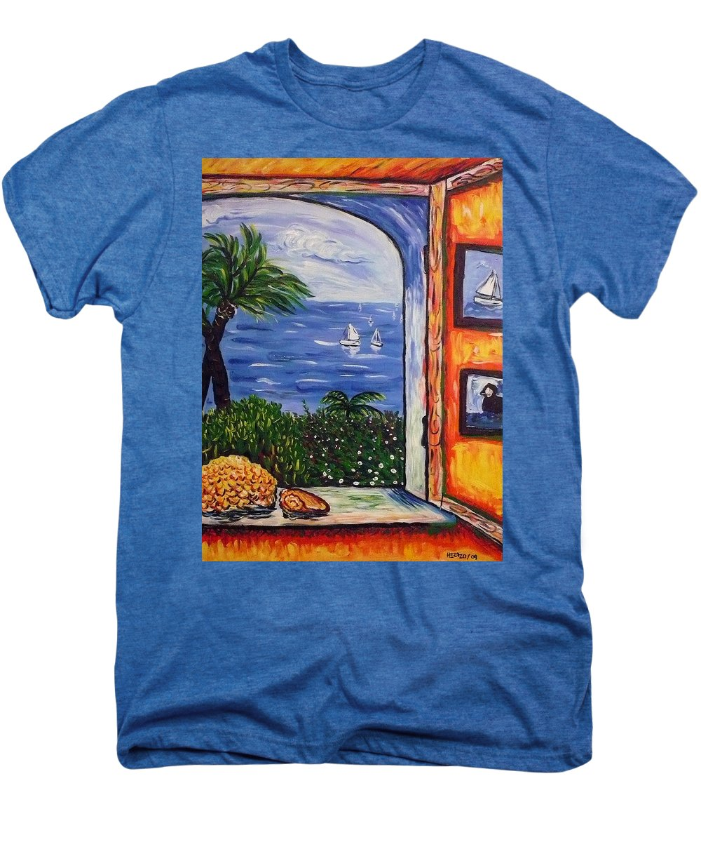 Landscape Men's Premium T-Shirt featuring the painting Window With Coral by Ericka Herazo