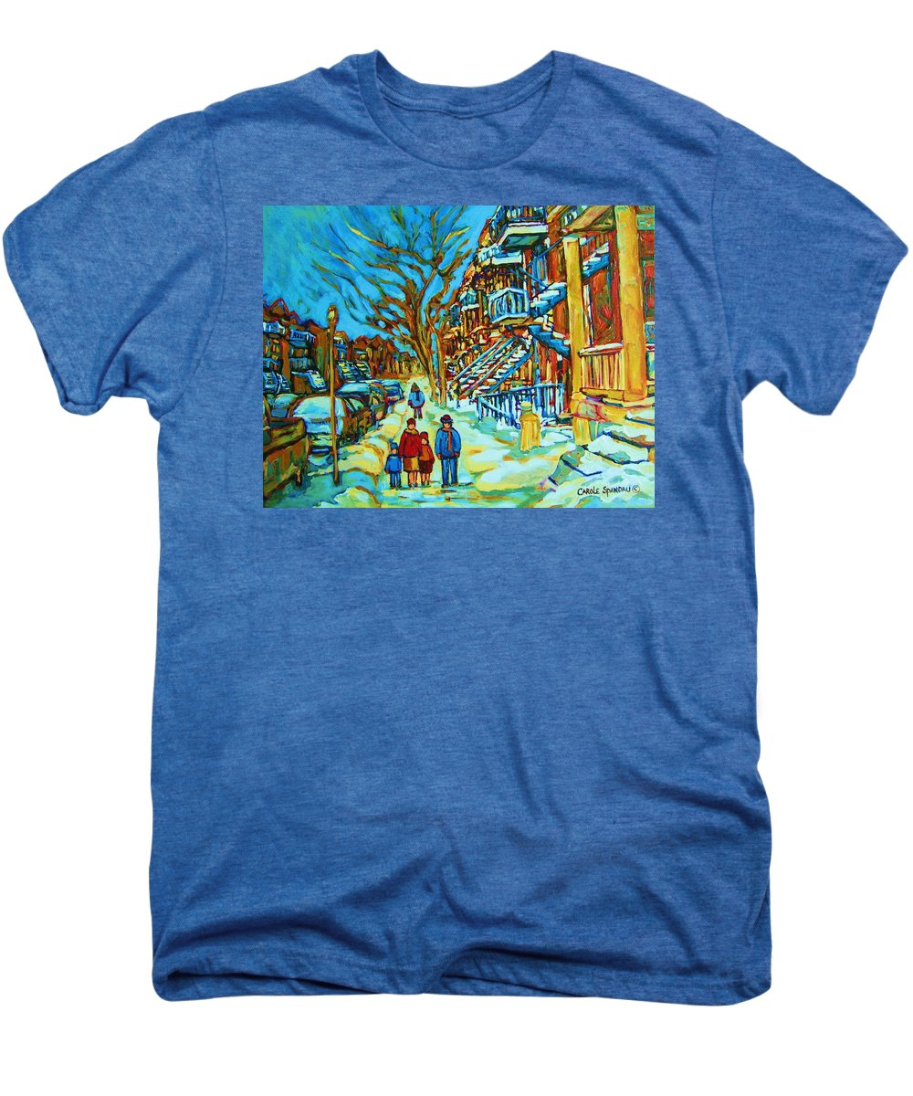 Winterscenes Men's Premium T-Shirt featuring the painting Winter Walk In The City by Carole Spandau
