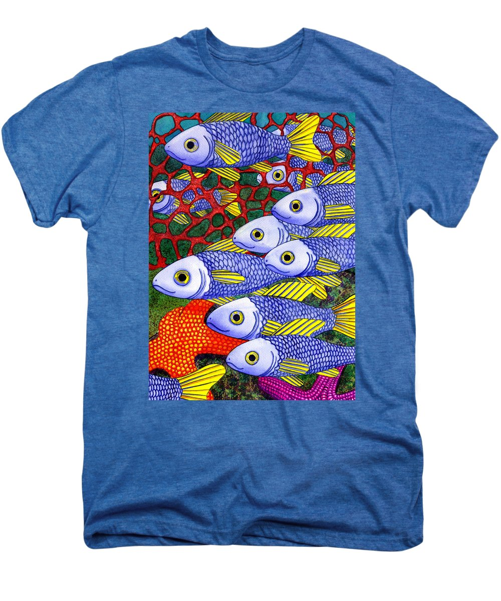 Fish Men's Premium T-Shirt featuring the painting Yellow Fins by Catherine G McElroy