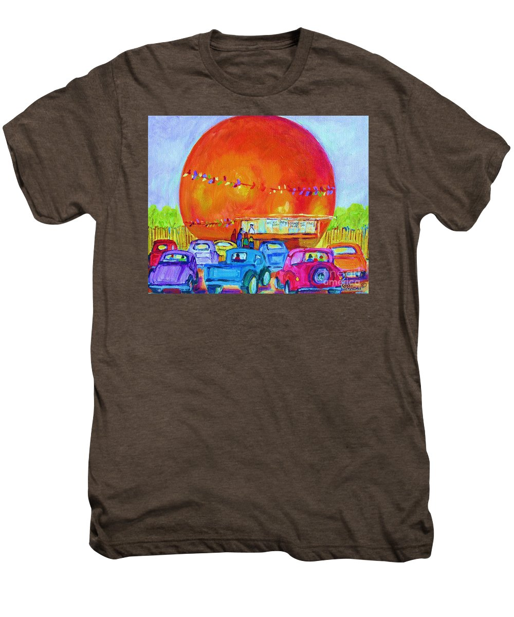 Cars Men's Premium T-Shirt featuring the painting Antique Cars At The Julep by Carole Spandau