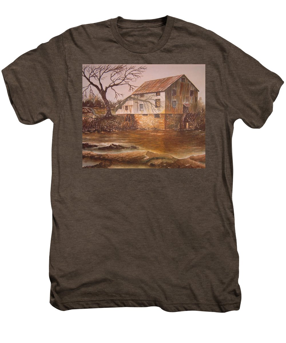 Landscape Men's Premium T-Shirt featuring the painting Anderson Mill by Ben Kiger