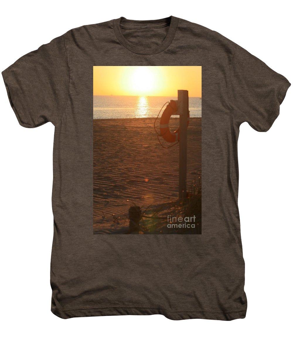 Beach Men's Premium T-Shirt featuring the photograph Beach At Sunset by Nadine Rippelmeyer