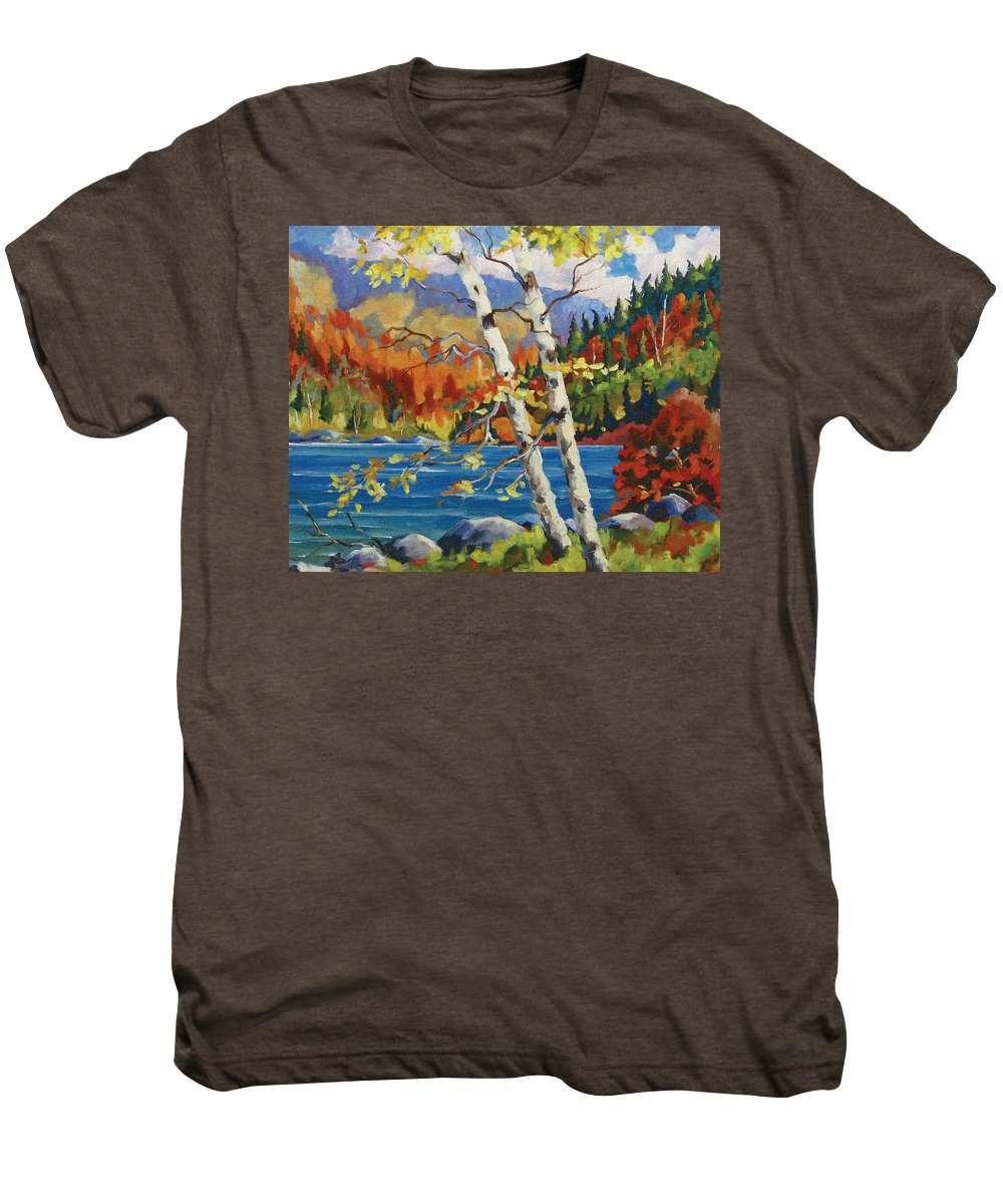 Art Men's Premium T-Shirt featuring the painting Birches By The Lake by Richard T Pranke