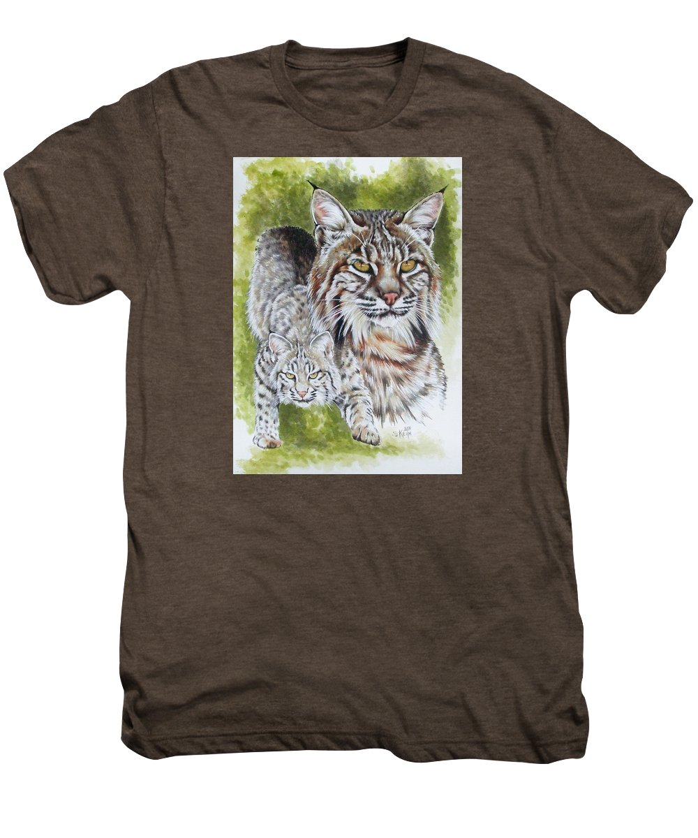 Small Cat Men's Premium T-Shirt featuring the mixed media Brassy by Barbara Keith
