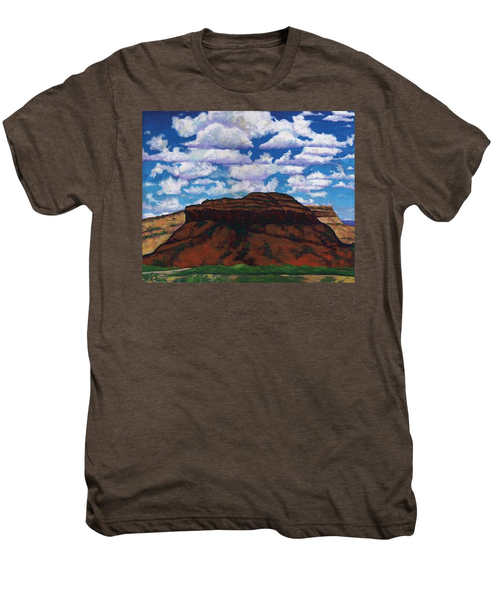 Lanscape Men's Premium T-Shirt featuring the painting Clouds Over Red Mesa by Joe Triano