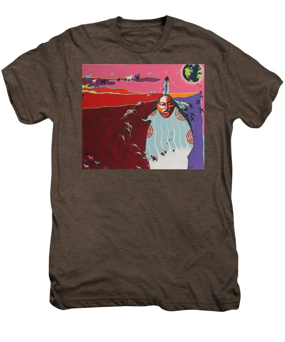 Native American Men's Premium T-Shirt featuring the painting Creation by Joe Triano