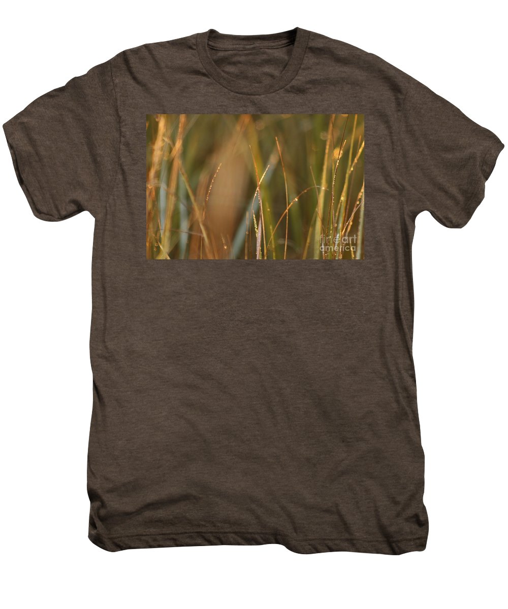Dew Men's Premium T-Shirt featuring the photograph Dewy Grasses by Nadine Rippelmeyer