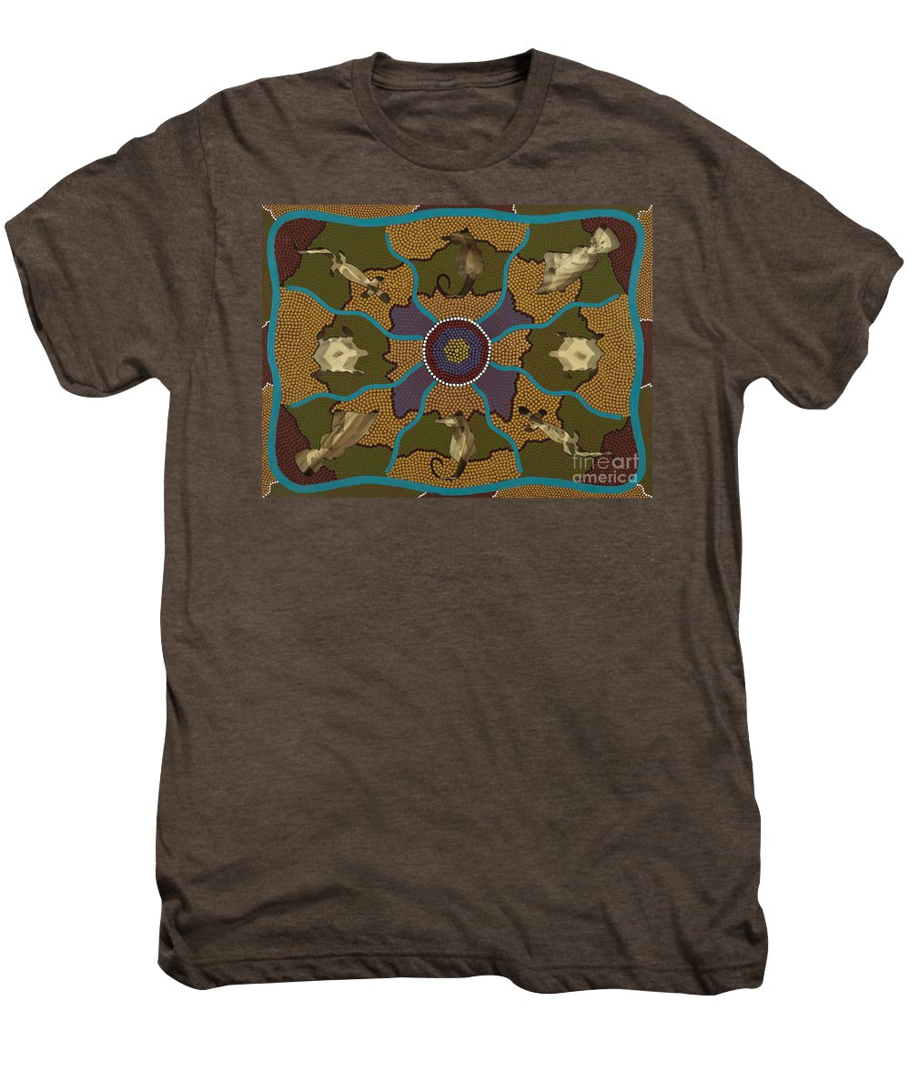 Aboriginal Men's Premium T-Shirt featuring the painting Flow Of Life by Clifford Madsen