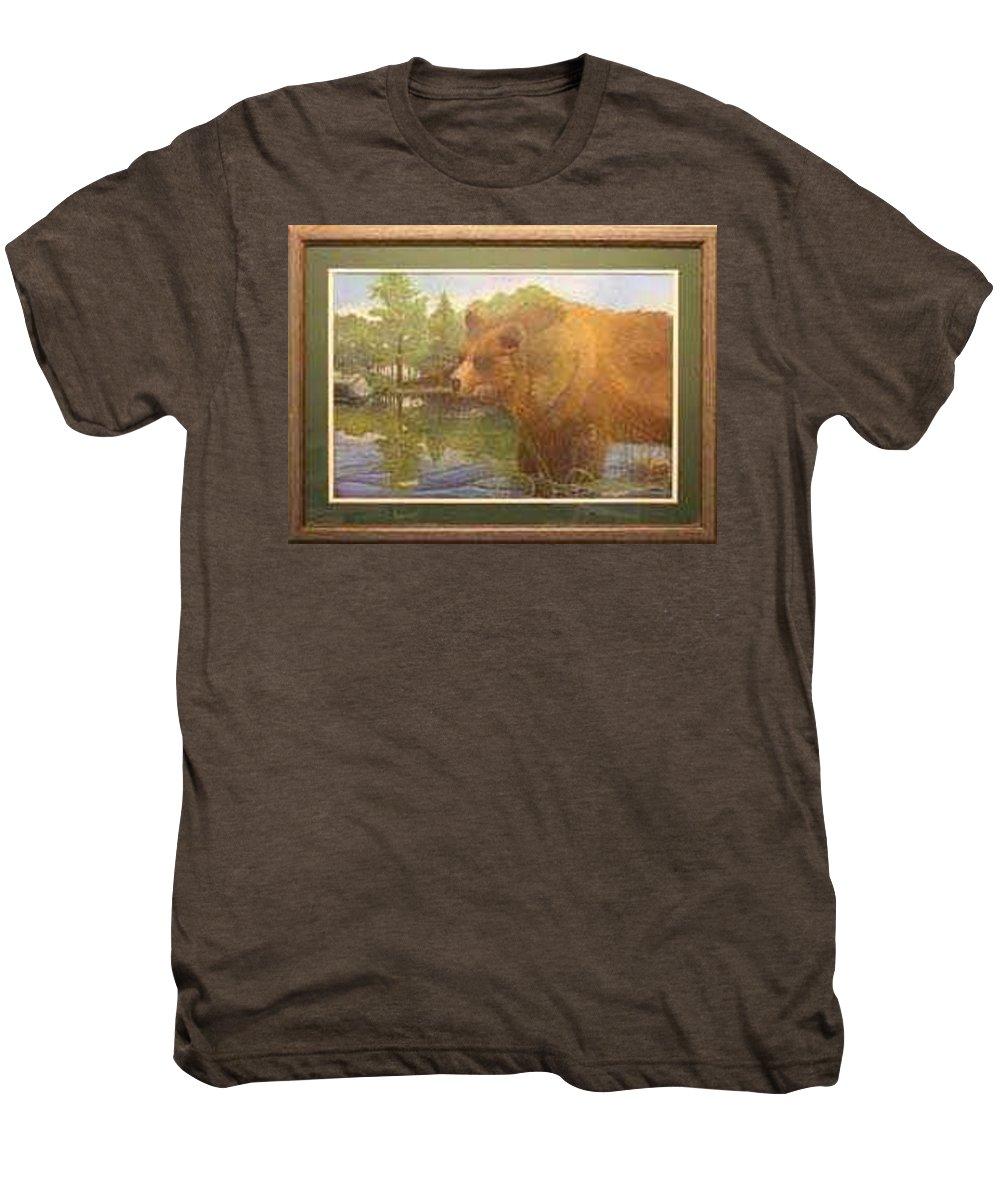 Rick Huotari Men's Premium T-Shirt featuring the painting Grizzly by Rick Huotari