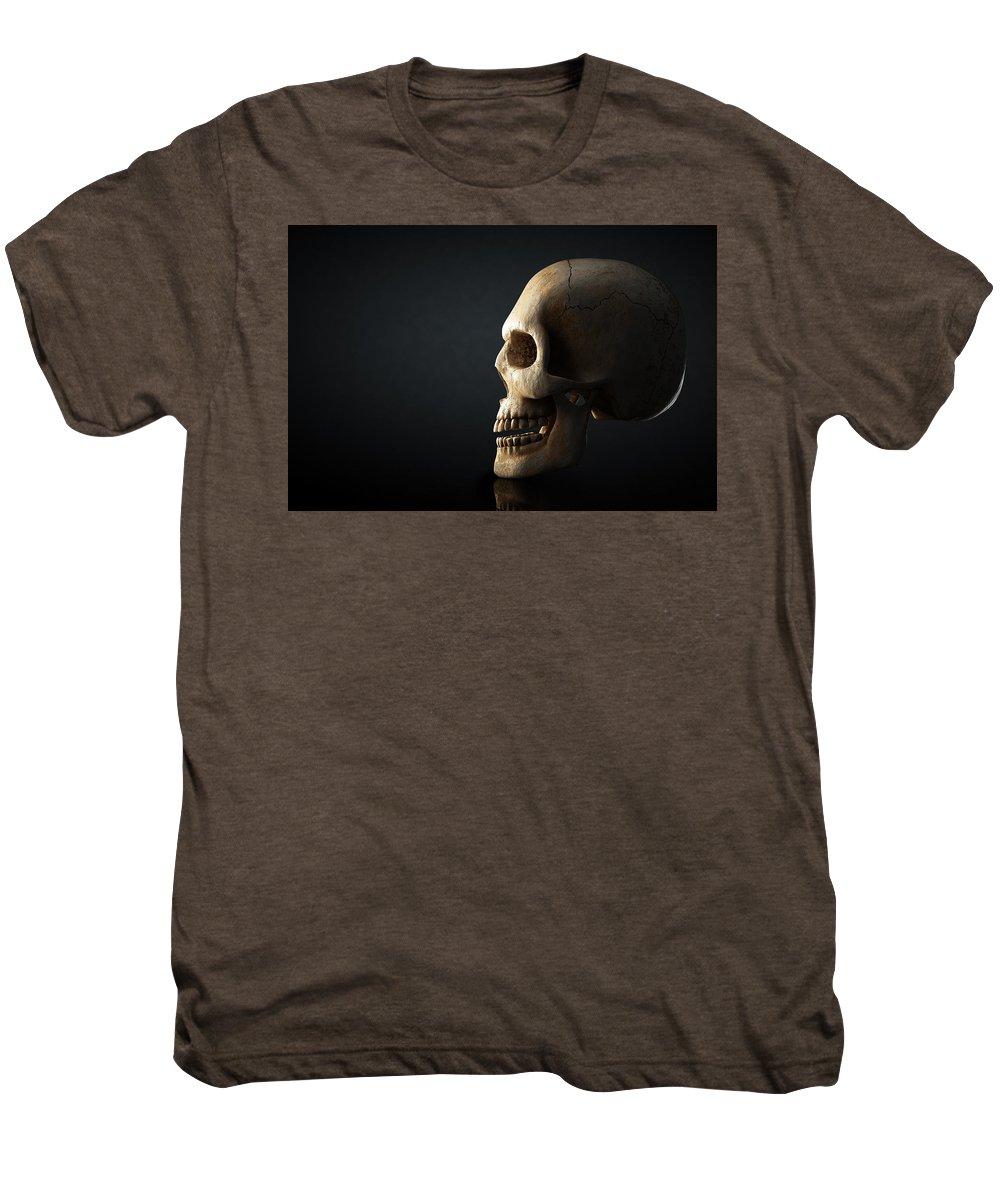 Skull Men's Premium T-Shirt featuring the photograph Human Skull Profile On Dark Background by Johan Swanepoel