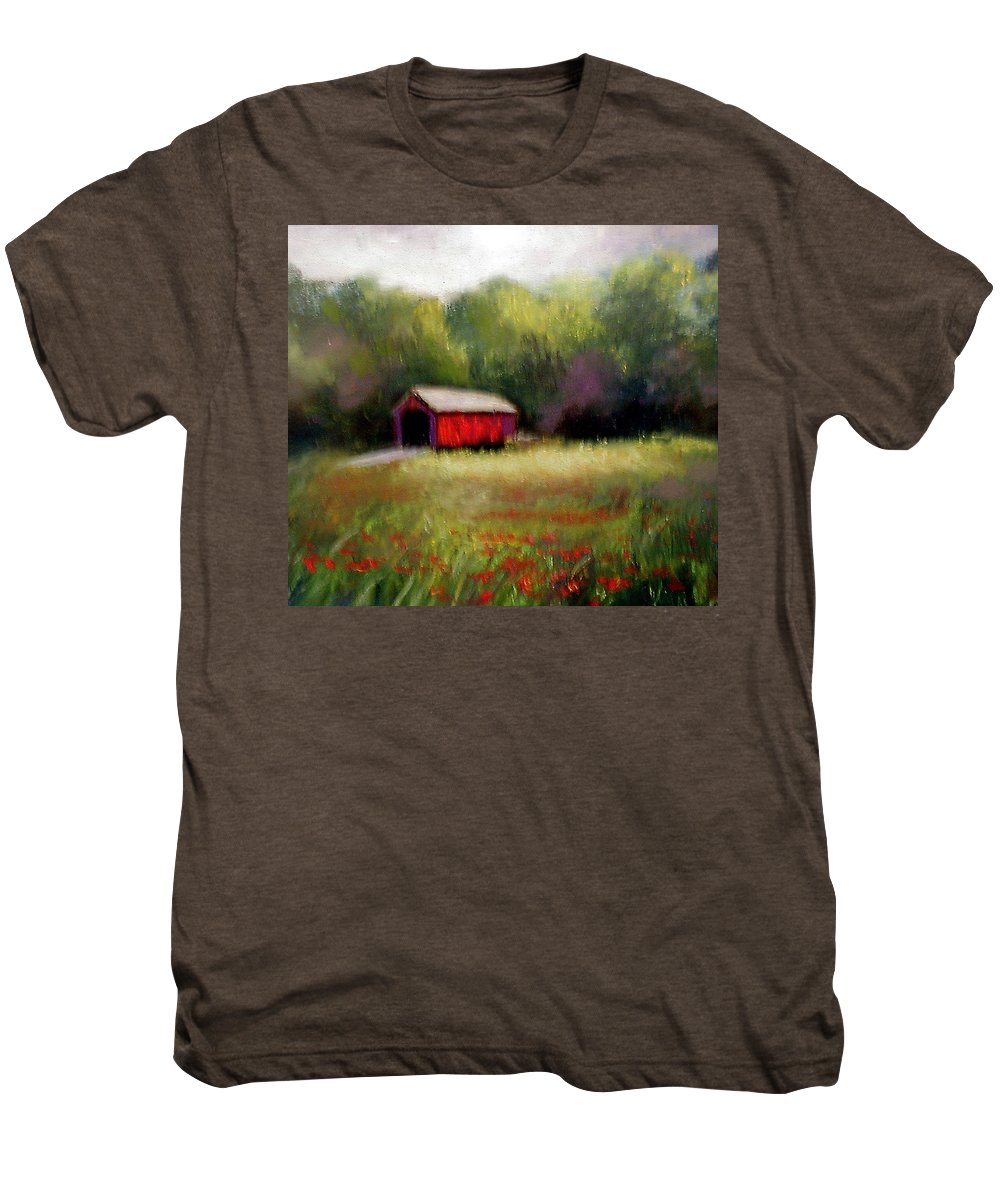 Covered Bridge Men's Premium T-Shirt featuring the painting Hune Bridge by Gail Kirtz