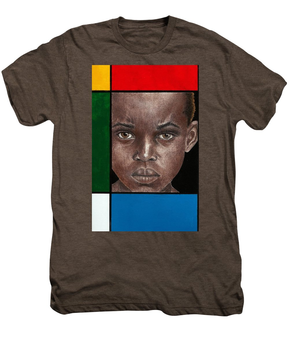 African American Artwork Men's Premium T-Shirt featuring the mixed media Intense by Edith Peterson-Watson
