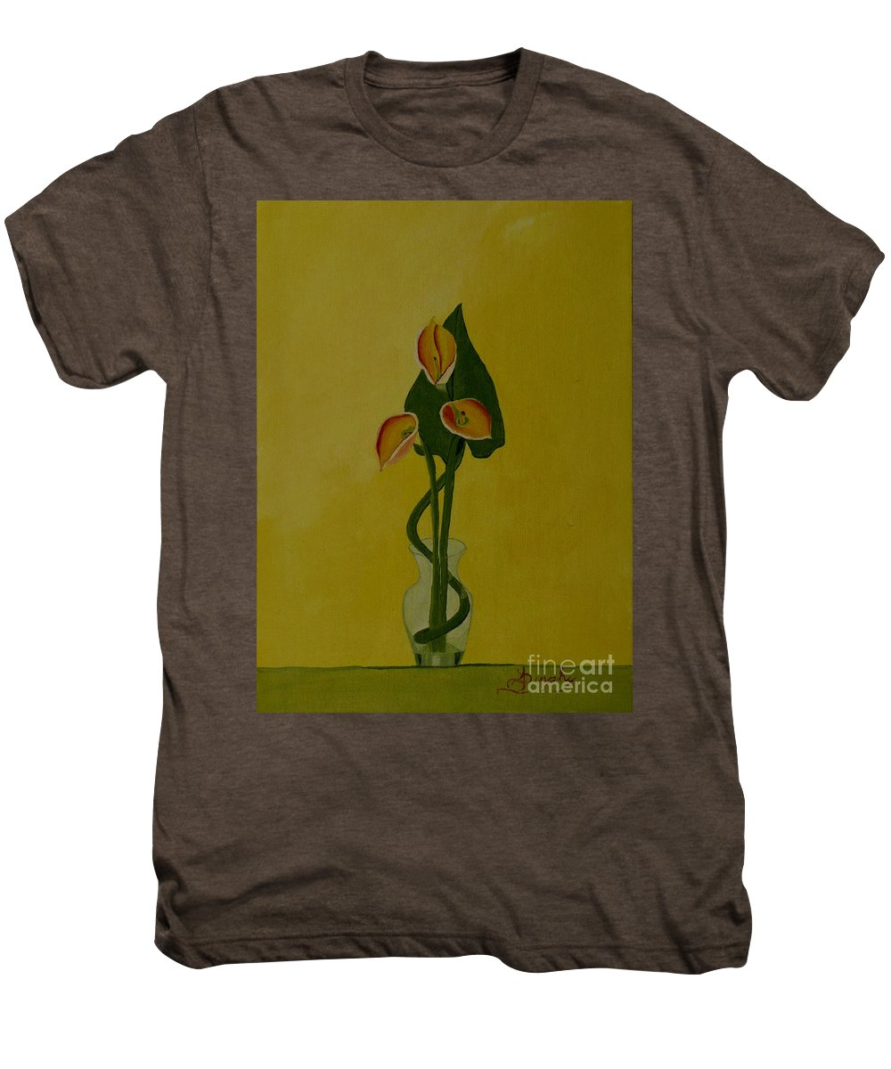 Japan Men's Premium T-Shirt featuring the painting Japanese Ikebana Arrangement by Anthony Dunphy