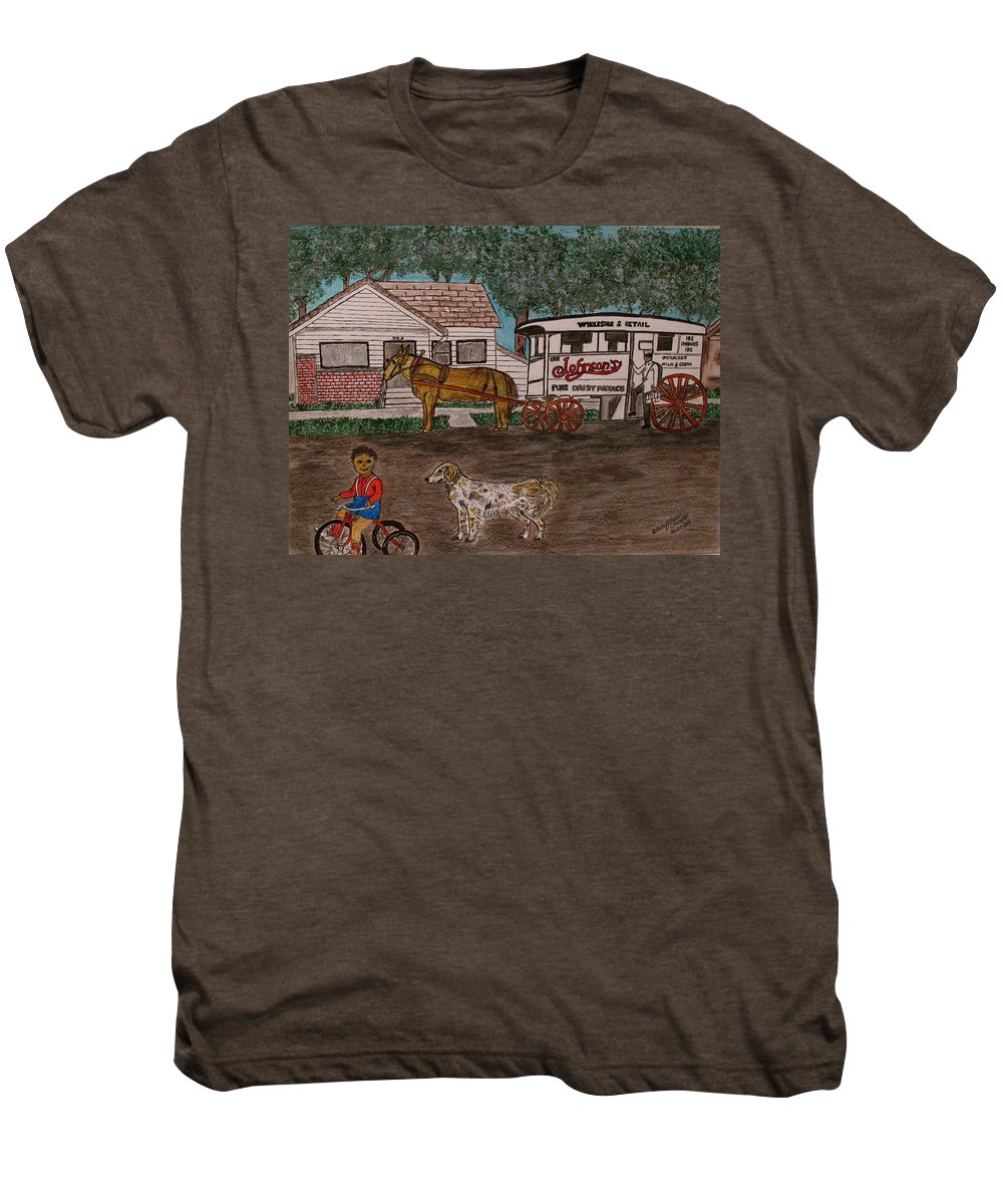 Johnson Creamery Men's Premium T-Shirt featuring the painting Johnsons Milk Wagon Pulled By A Horse by Kathy Marrs Chandler