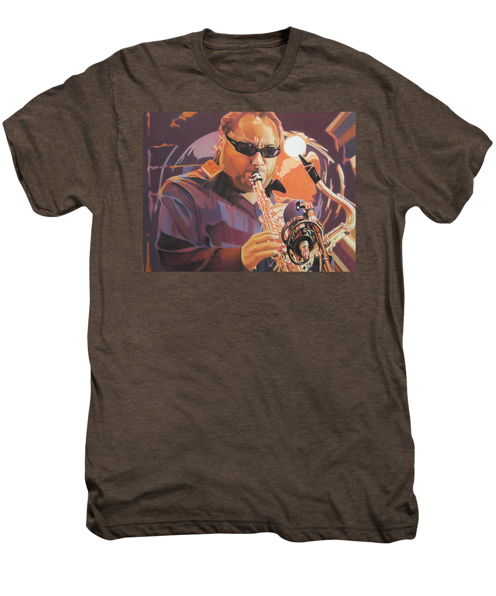 Leroi Moore Men's Premium T-Shirt featuring the drawing Leroi Moore Purple And Orange by Joshua Morton