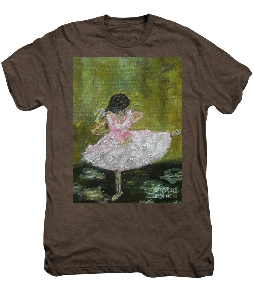 Girl Men's Premium T-Shirt featuring the painting Little Dansarina by Reina Resto