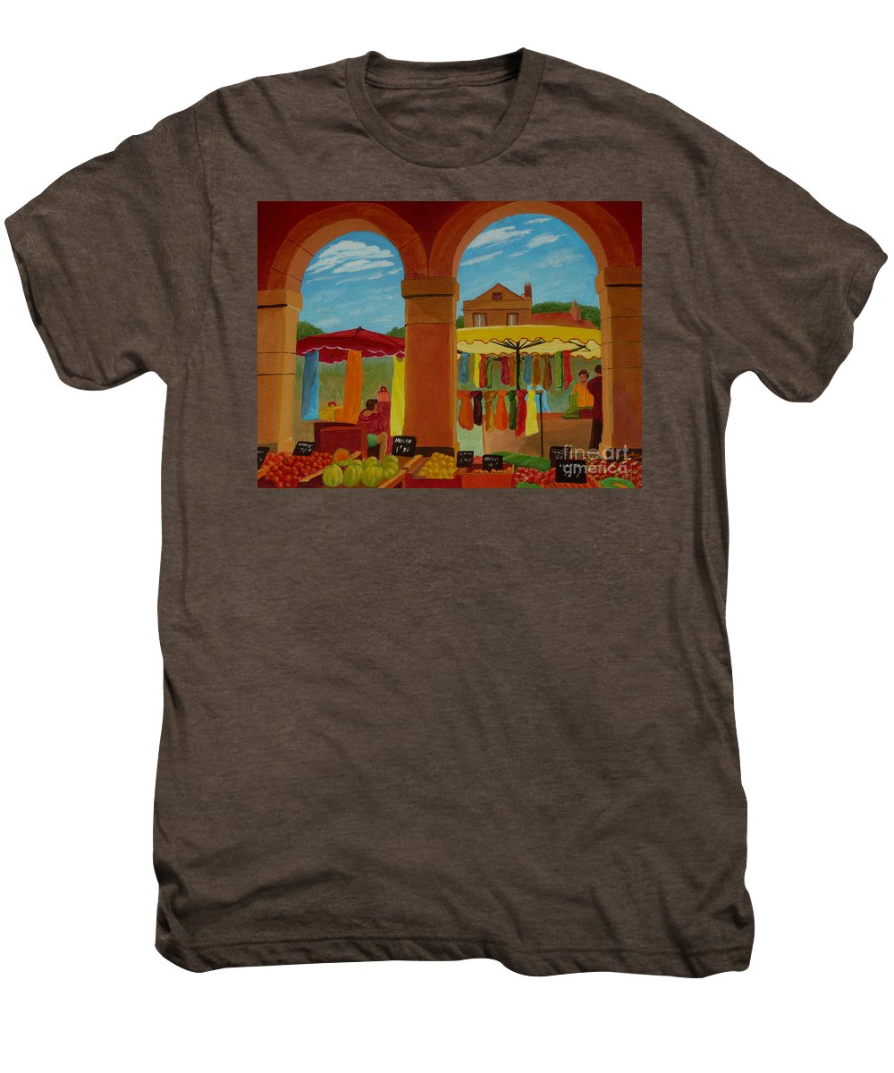 Landscape Men's Premium T-Shirt featuring the painting Market Day by Anthony Dunphy