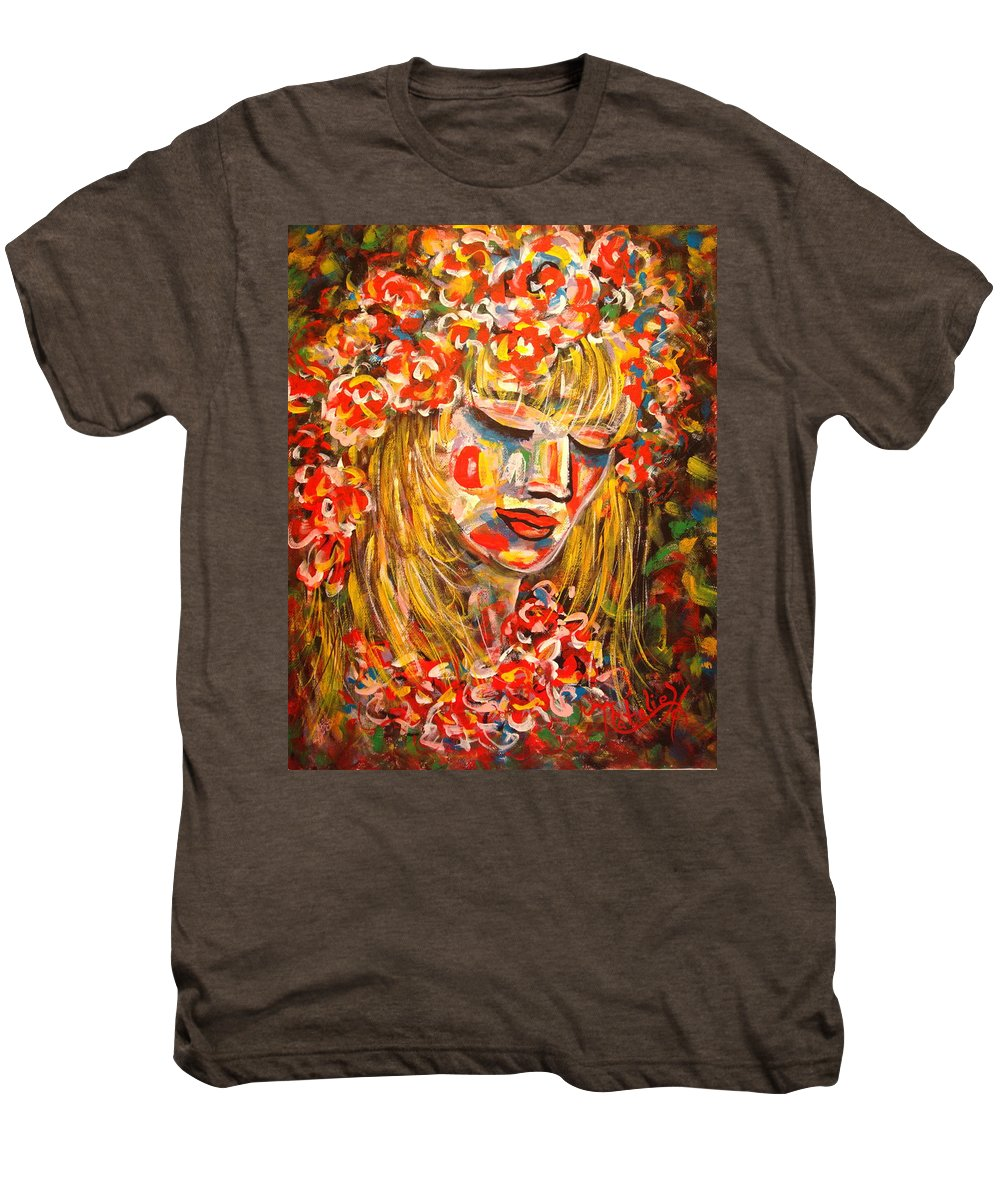Girl Men's Premium T-Shirt featuring the painting Nature Girl by Natalie Holland