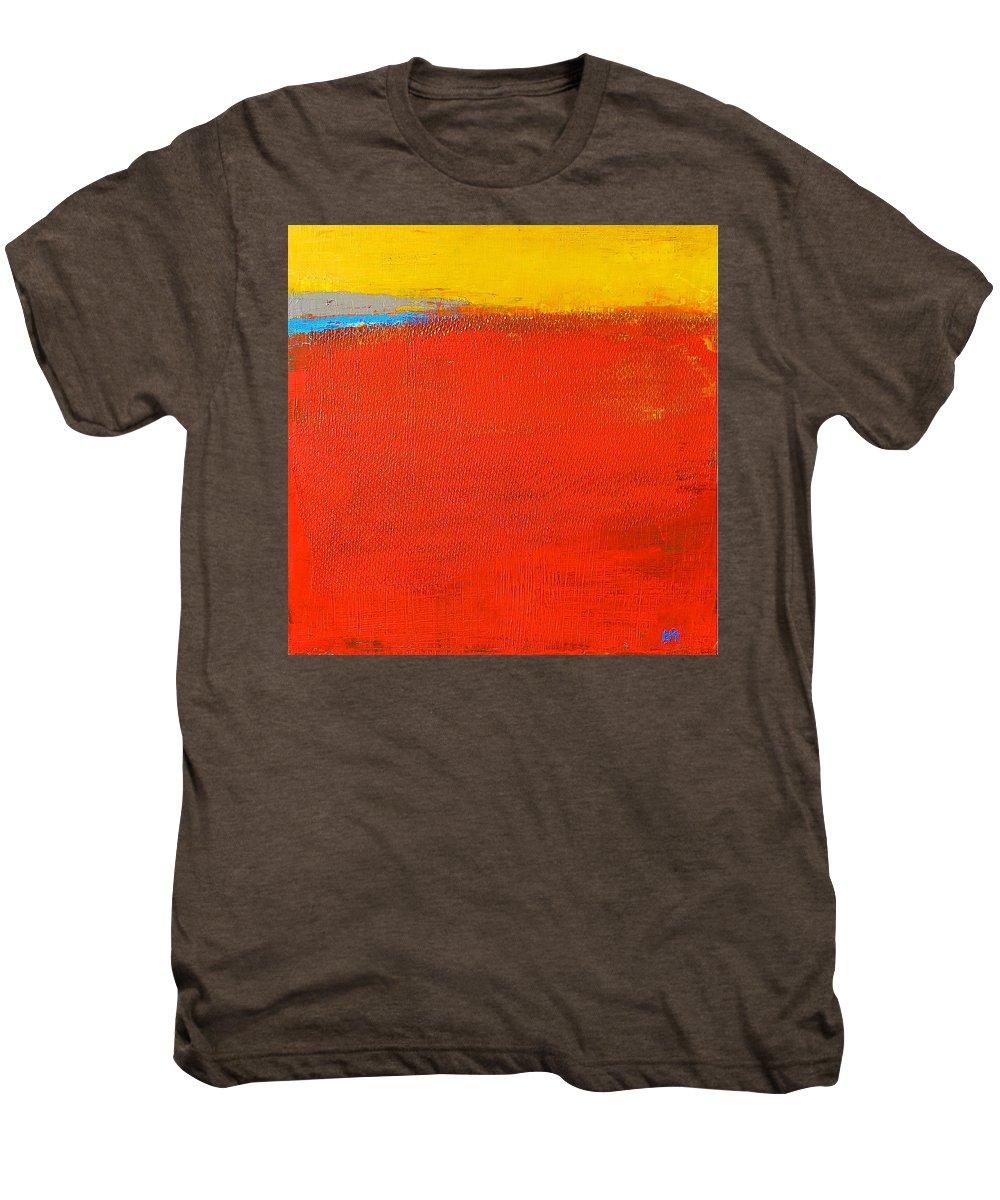 Landscape Men's Premium T-Shirt featuring the painting Nature Rouge by Habib Ayat