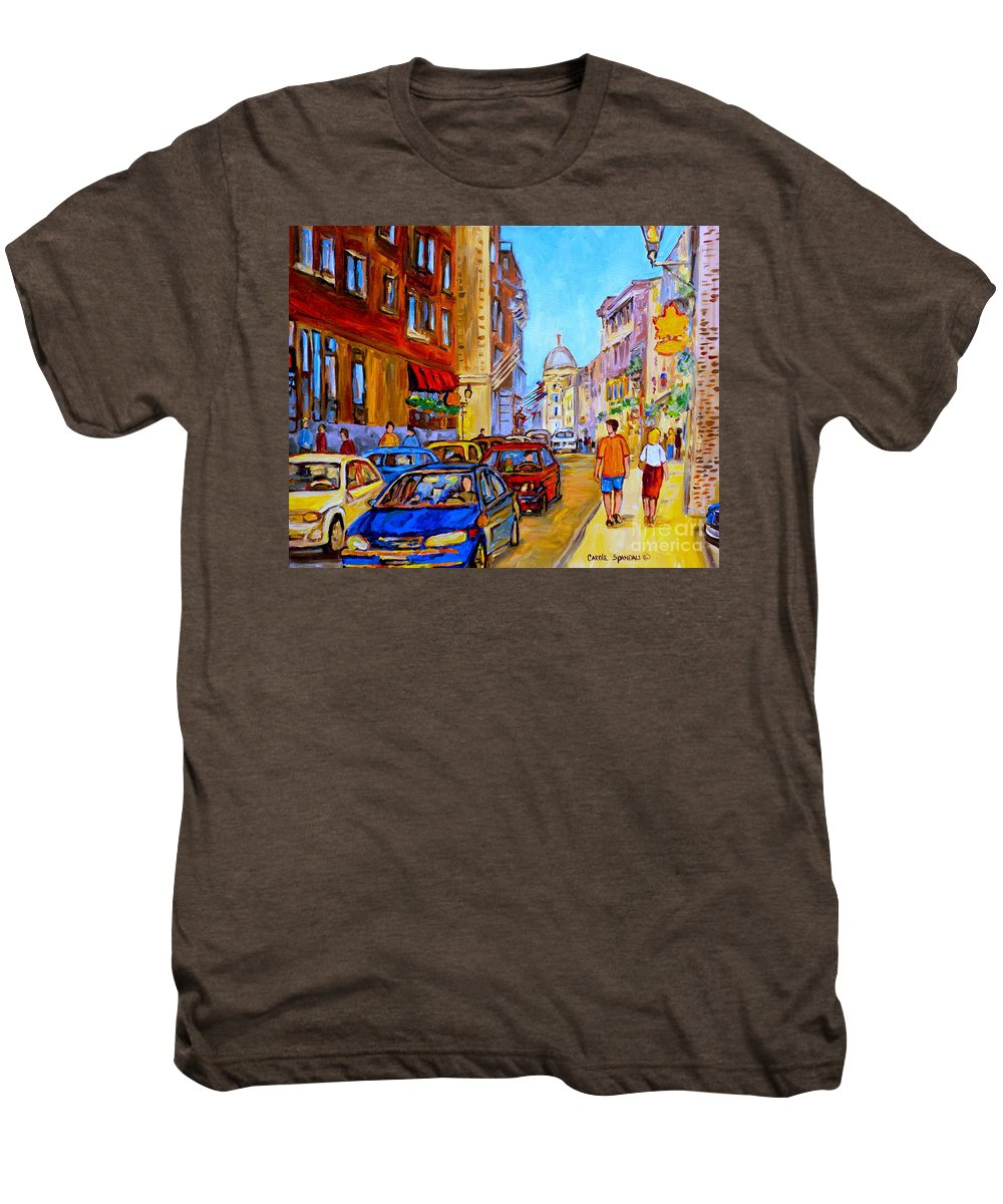 Old Montreal Street Scenes Men's Premium T-Shirt featuring the painting Old Montreal by Carole Spandau