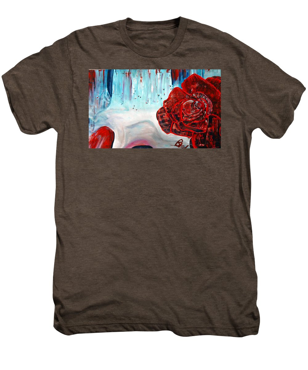 Landscape Men's Premium T-Shirt featuring the painting Op And Rose by Peggy Blood