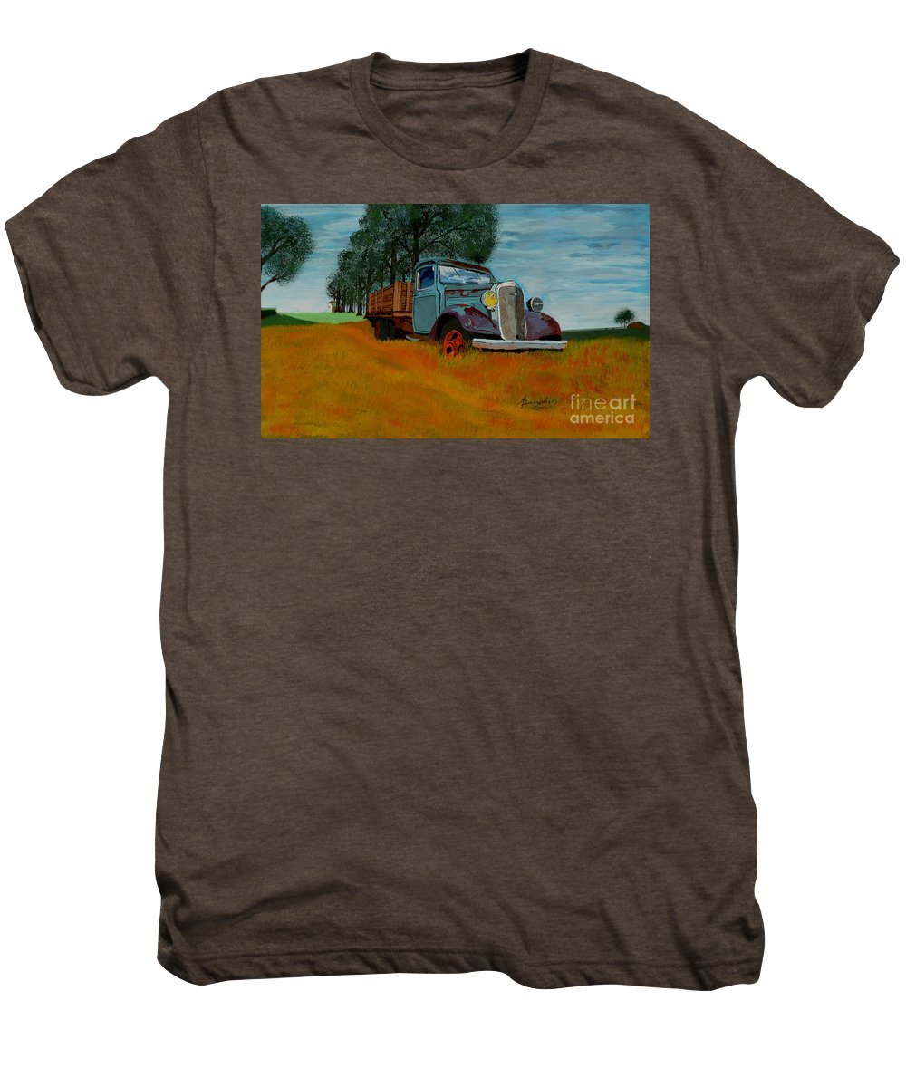 Truck Men's Premium T-Shirt featuring the painting Out To Pasture by Anthony Dunphy