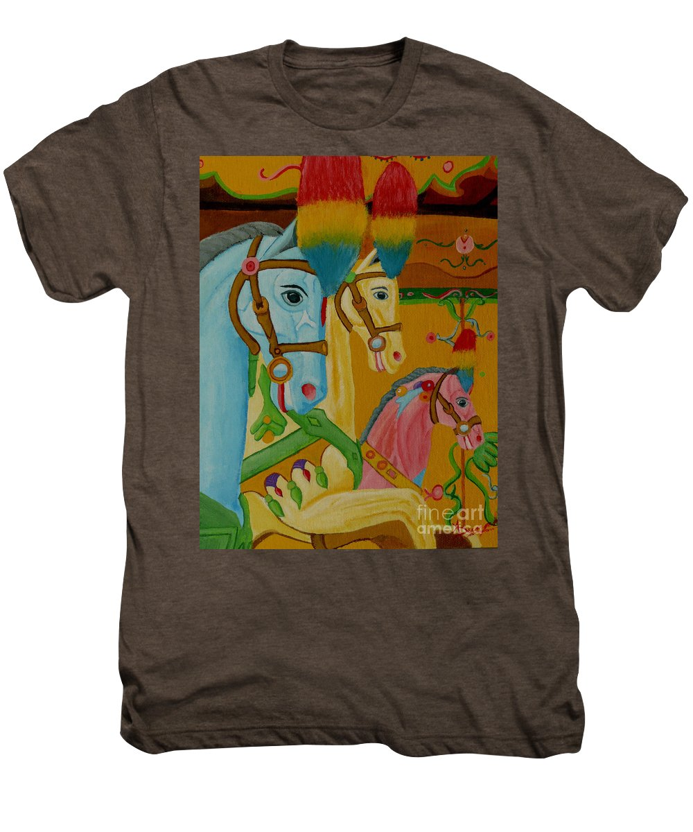 Carousel Men's Premium T-Shirt featuring the painting Painted Ponies by Anthony Dunphy