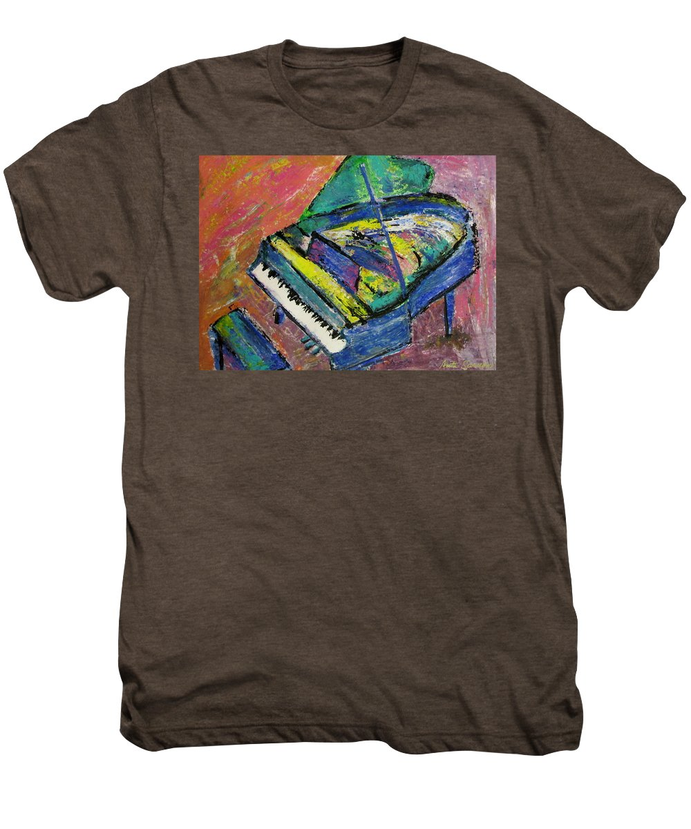 Piano Men's Premium T-Shirt featuring the painting Piano Blue by Anita Burgermeister