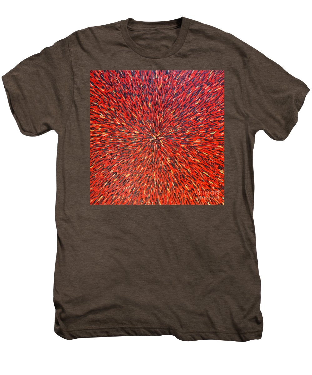 Abstract Men's Premium T-Shirt featuring the painting Radiation Red by Dean Triolo