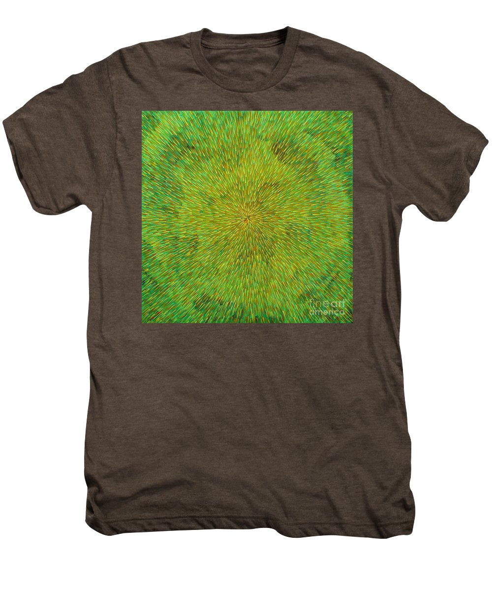 Abstract Men's Premium T-Shirt featuring the painting Radiation With Green Yellow And Orange by Dean Triolo