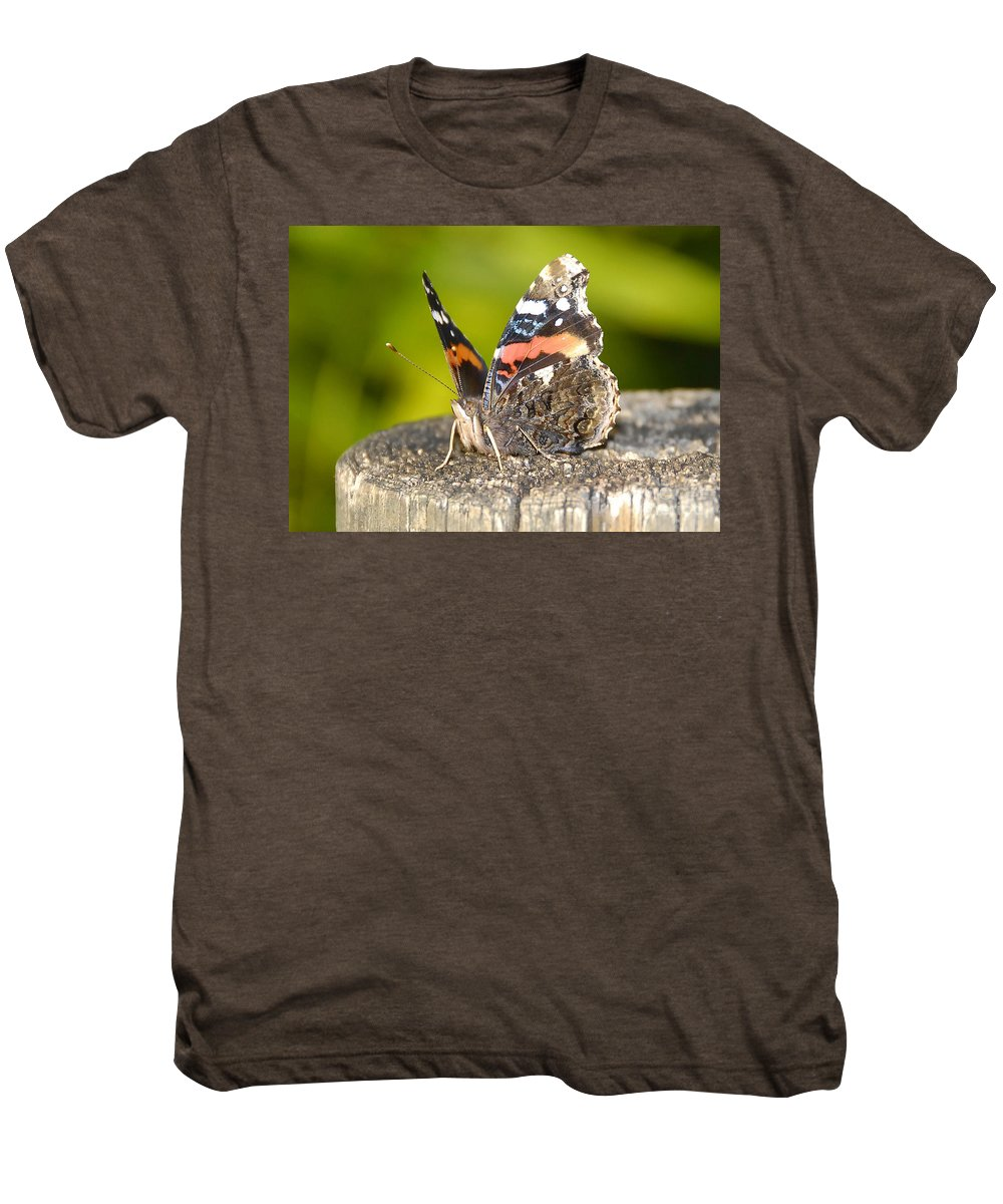 Red Admiral Butterfly Men's Premium T-Shirt featuring the photograph Red Admiral Butterfly by David Lee Thompson