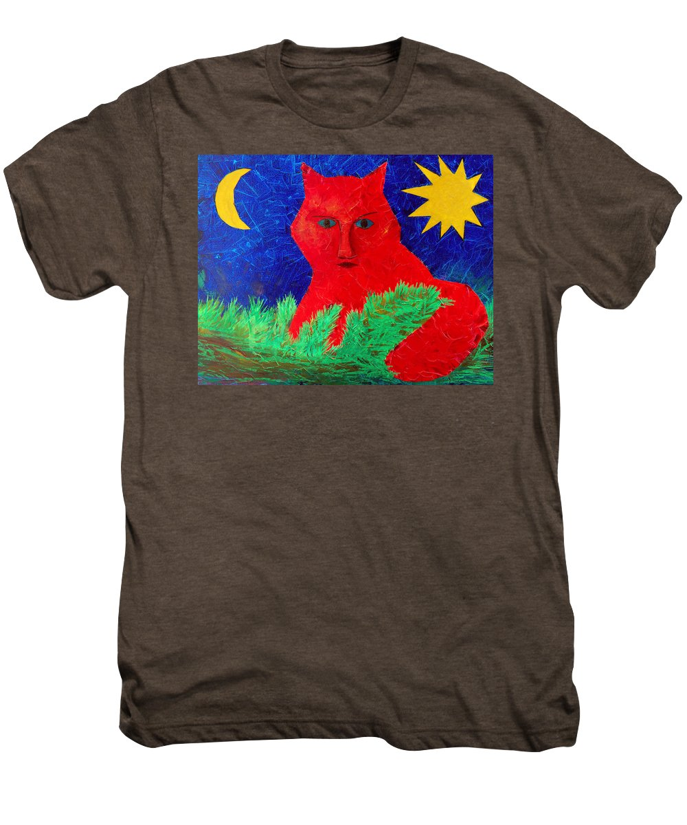 Fantasy Men's Premium T-Shirt featuring the painting Red by Sergey Bezhinets