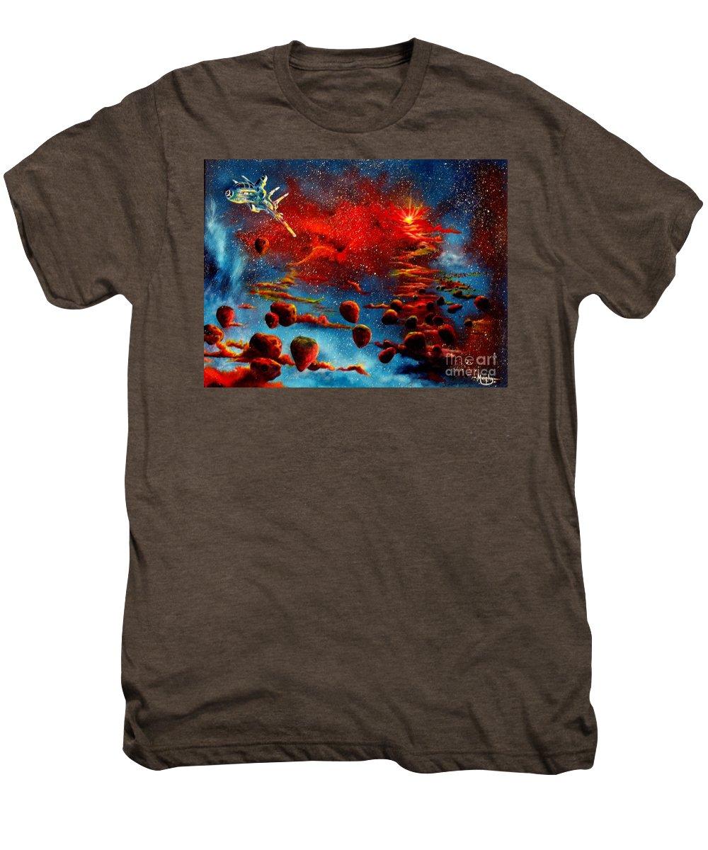 Nova Men's Premium T-Shirt featuring the painting Starberry Nova Alien Excape by Murphy Elliott