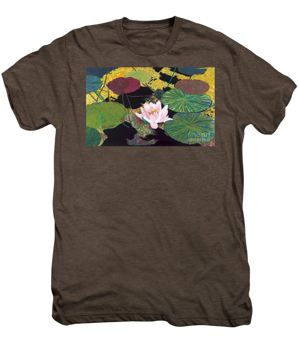Landscape Men's Premium T-Shirt featuring the painting Steamy Pond by Allan P Friedlander