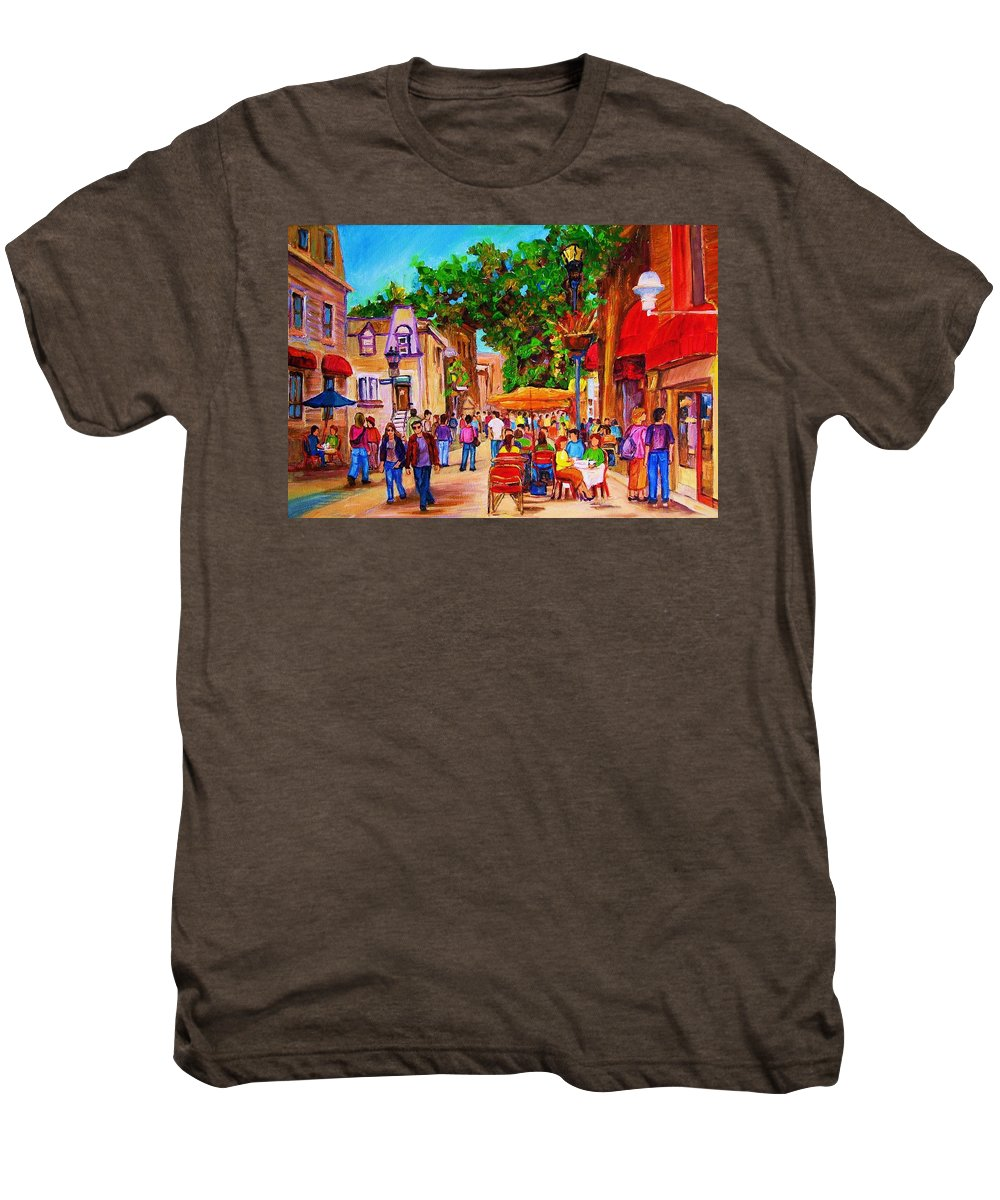 Summer Cafes Montreal Street Scenes Men's Premium T-Shirt featuring the painting Summer Cafes by Carole Spandau