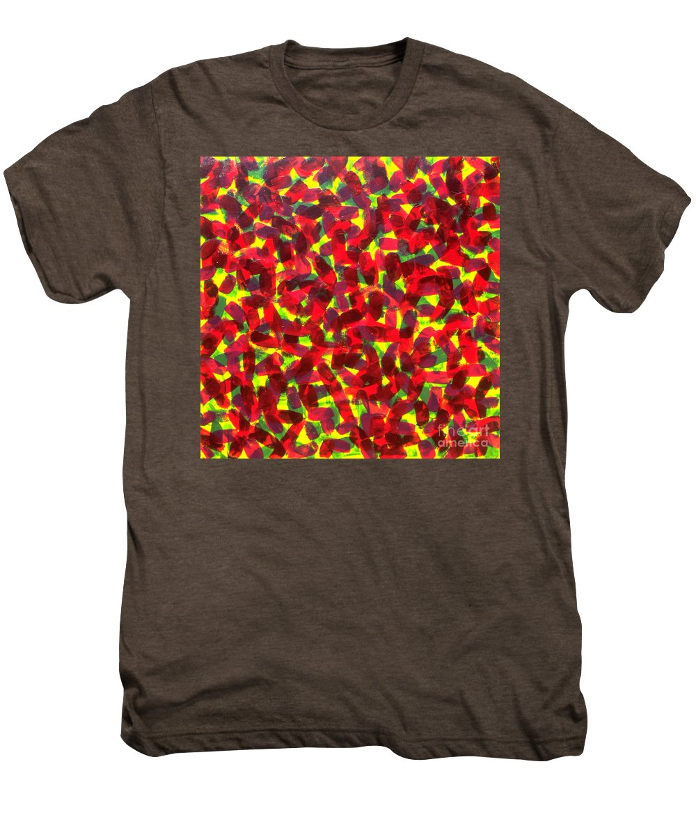 Abstract Men's Premium T-Shirt featuring the painting Sunlight Through The Trees by Dean Triolo