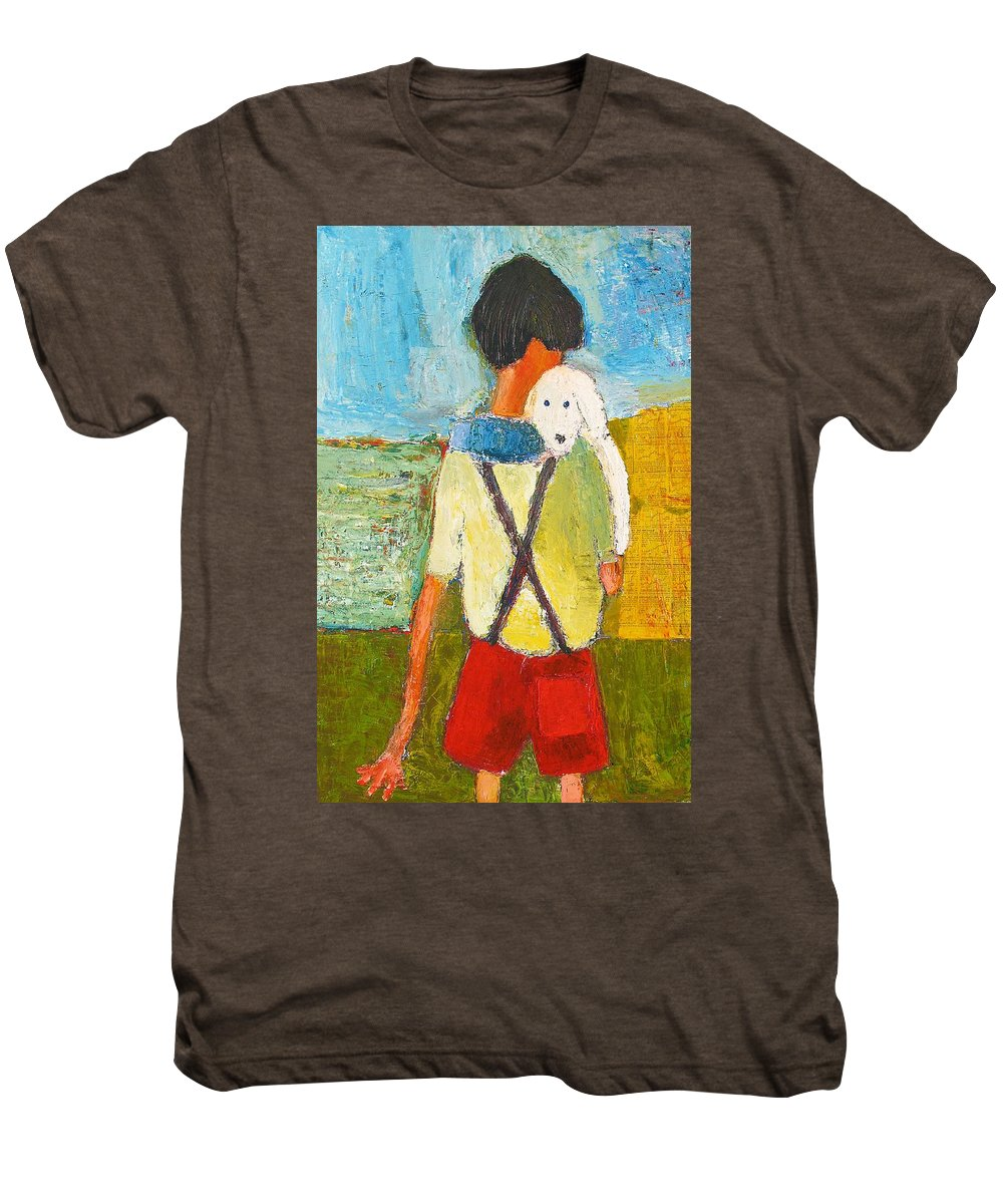 Abstract Men's Premium T-Shirt featuring the painting The Little Puppy by Habib Ayat