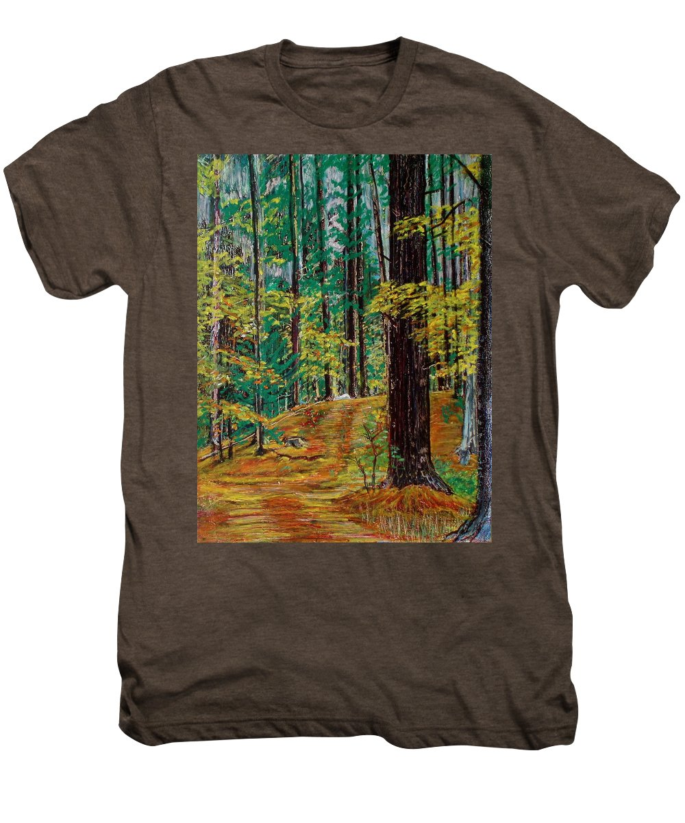 New Hampshire Men's Premium T-Shirt featuring the pastel Trail At Wason Pond by Sean Connolly