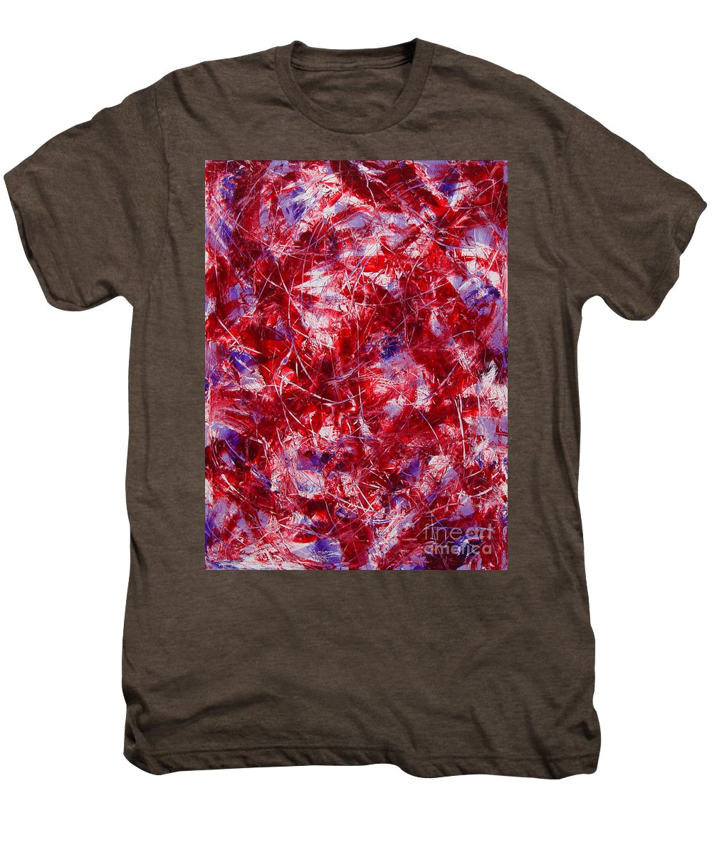 Abstract Men's Premium T-Shirt featuring the painting Transitions With White Red And Violet by Dean Triolo