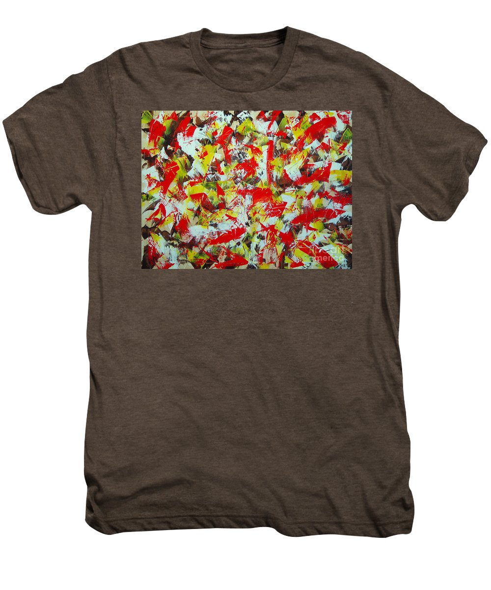 Abstract Men's Premium T-Shirt featuring the painting Transitions With Yellow Brown And Red by Dean Triolo