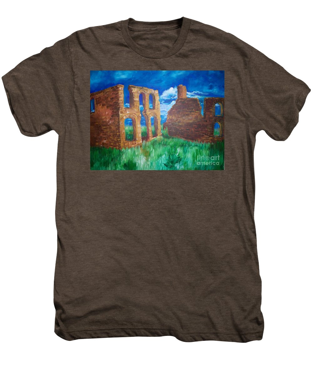 Western_landscapes Men's Premium T-Shirt featuring the painting Ghost Town by Eric Schiabor