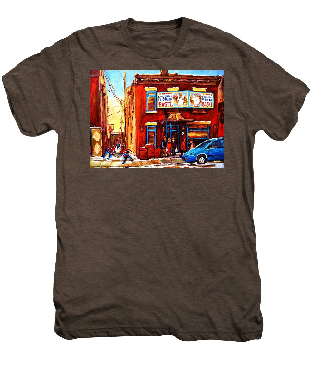 Hockey Men's Premium T-Shirt featuring the painting Fairmount Bagel In Winter by Carole Spandau