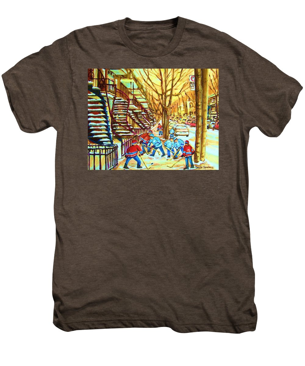 Montreal Men's Premium T-Shirt featuring the painting Hockey Game Near Winding Staircases by Carole Spandau